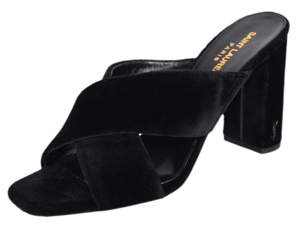 Saint Laurent Black Monogram Loulou New Ysl Velvet Logo Heel Slip On  Mules Slides
