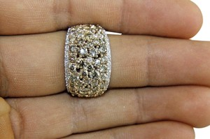 Other Fancy Color Diamond Round Cluster Cigar Ring Band 14k WG 5.33Ct