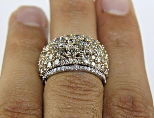Other Fancy Color Diamond Round Cluster Cigar Ring Band 14k WG 5.33Ct Image 1