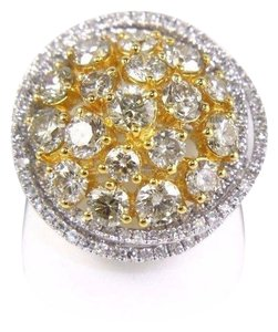 Other Yellow Diamond Round Ring w/Accents 14k White & Yellow Gold 3.42Ct