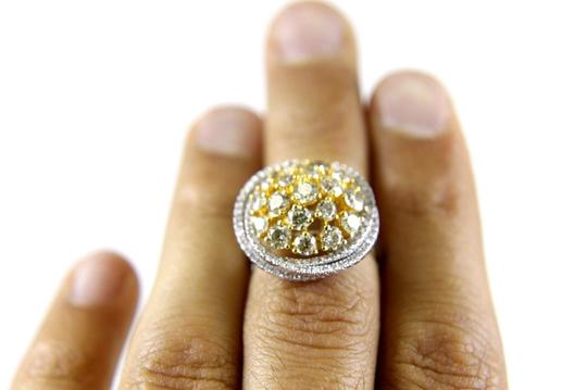 Other Yellow Diamond Round Ring w/Accents 14k White & Yellow Gold 3.42Ct Image 2