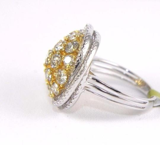 Other Yellow Diamond Round Ring w/Accents 14k White & Yellow Gold 3.42Ct Image 4