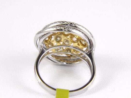 Other Yellow Diamond Round Ring w/Accents 14k White & Yellow Gold 3.42Ct Image 5