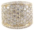 Other Round Diamond Wide Cluster Pave Dome Cigar Band 14k Yellow Gold 3.90Ct Image 0