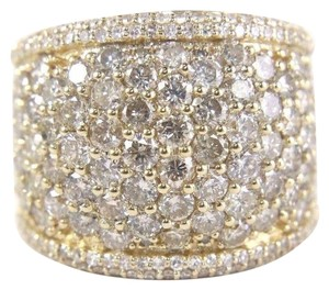 Other Round Diamond Wide Cluster Pave Dome Cigar Band 14k Yellow Gold 3.90Ct