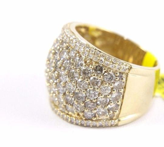 Other Round Diamond Wide Cluster Pave Dome Cigar Band 14k Yellow Gold 3.90Ct Image 1