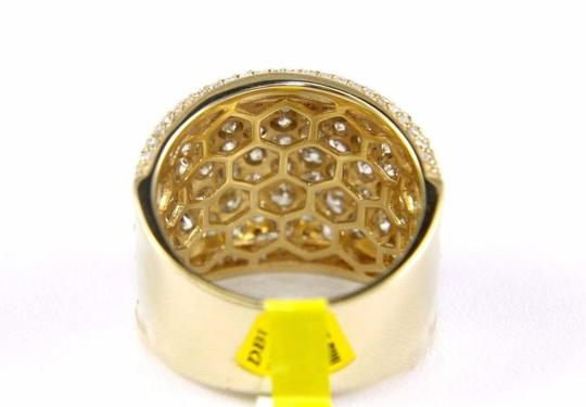 Other Round Diamond Wide Cluster Pave Dome Cigar Band 14k Yellow Gold 3.90Ct Image 2