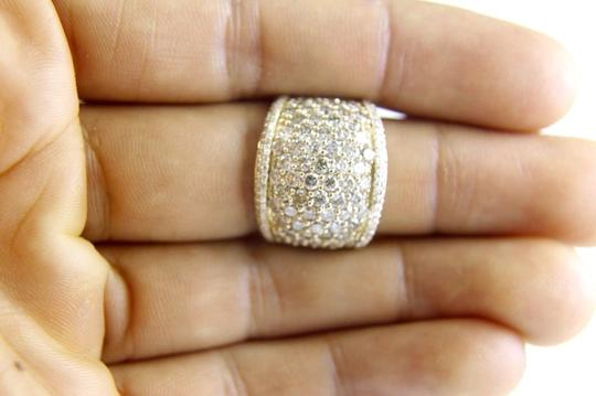 Other Round Diamond Wide Cluster Pave Dome Cigar Band 14k Yellow Gold 3.90Ct Image 3