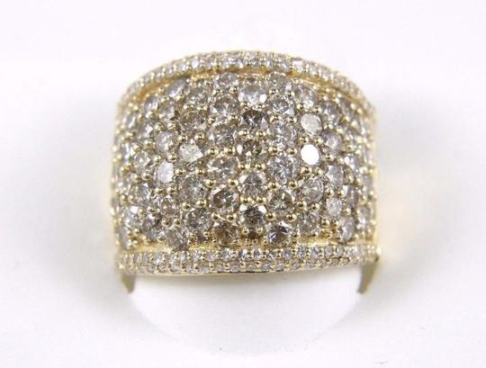 Other Round Diamond Wide Cluster Pave Dome Cigar Band 14k Yellow Gold 3.90Ct Image 4