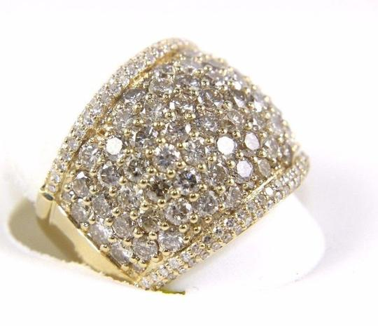 Other Round Diamond Wide Cluster Pave Dome Cigar Band 14k Yellow Gold 3.90Ct Image 5