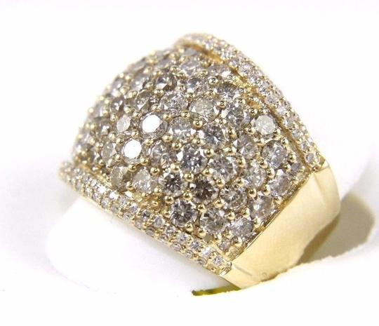 Other Round Diamond Wide Cluster Pave Dome Cigar Band 14k Yellow Gold 3.90Ct Image 6