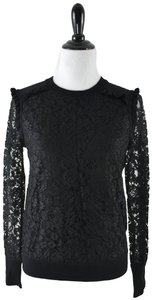Tory Burch Wool Ruffle Knit Lace Sheer Sweater