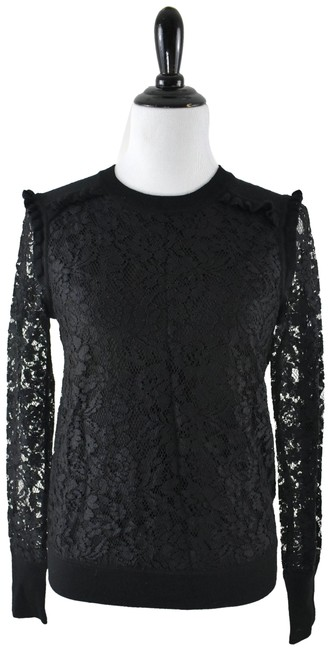 Preload https://img-static.tradesy.com/item/24609169/tory-burch-lace-dina-crewneck-merino-wool-ruffle-small-black-sweater-0-1-650-650.jpg