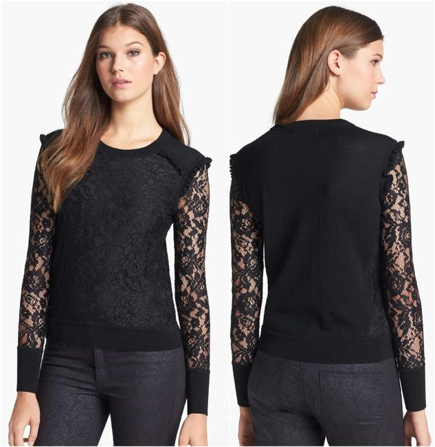 Tory Burch Wool Ruffle Knit Lace Sheer Sweater Image 1