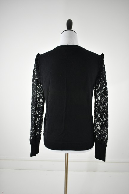 Tory Burch Wool Ruffle Knit Lace Sheer Sweater Image 2