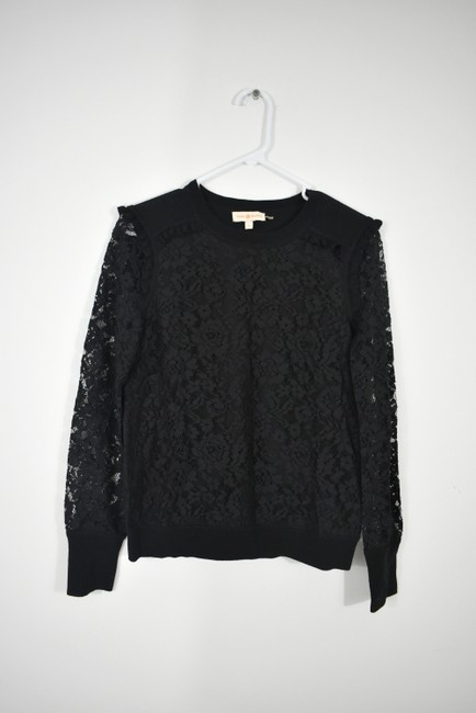 Tory Burch Wool Ruffle Knit Lace Sheer Sweater Image 4