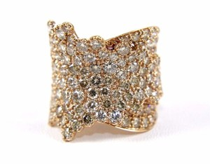 Other Wide Cluster Diamond Pave Fold Lady Ring Band 14k Rose Gold 4.48Ct