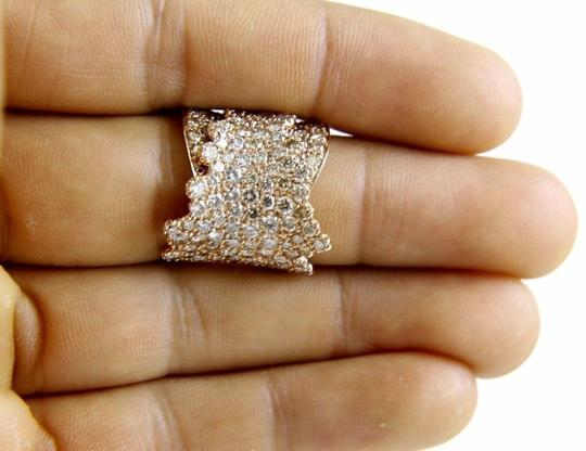 Other Wide Cluster Diamond Pave Fold Lady Ring Band 14k Rose Gold 4.48Ct Image 3