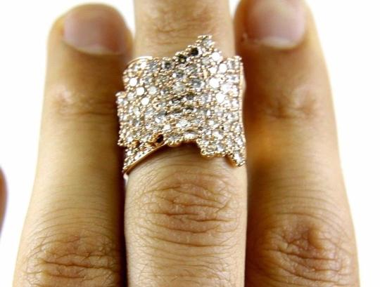 Other Wide Cluster Diamond Pave Fold Lady Ring Band 14k Rose Gold 4.48Ct Image 4
