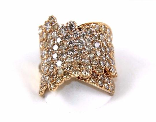 Other Wide Cluster Diamond Pave Fold Lady Ring Band 14k Rose Gold 4.48Ct Image 5