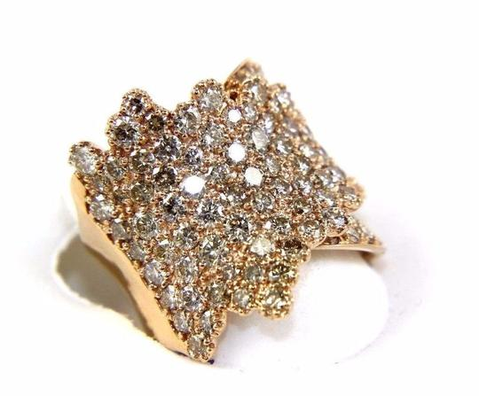 Other Wide Cluster Diamond Pave Fold Lady Ring Band 14k Rose Gold 4.48Ct Image 6