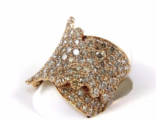 Other Wide Cluster Diamond Pave Fold Lady Ring Band 14k Rose Gold 4.48Ct Image 7