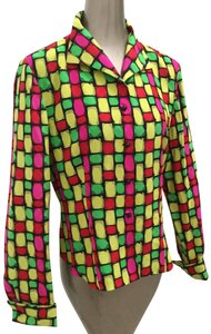 Dana Buchman Silk Bold Geometric Silk Blouse Button Down Shirt Multi