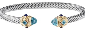 """David Yurman Stunning Renaissance Bracelet 14K Yellow Gold and Sterling Silver 5mm - Cable 7.25"""" Faceted Blue Topaz and Lapis Lazuli"""