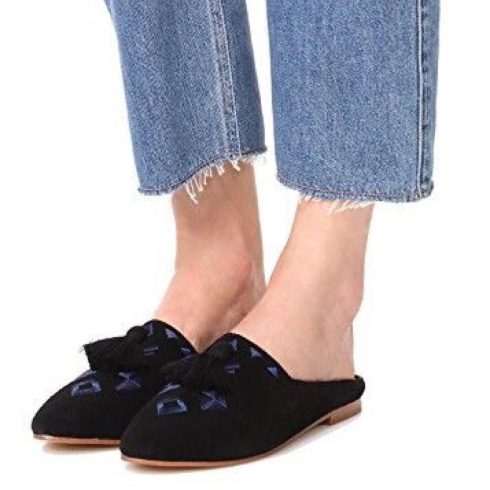 30d3f617cd2 Soludos Black Suede Embroidered Tassel Loafer Mules Flats Size US 8 ...