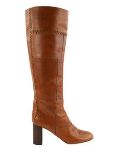 Chloé Knee High Whipstitch Patchwork Leather Brown Boots