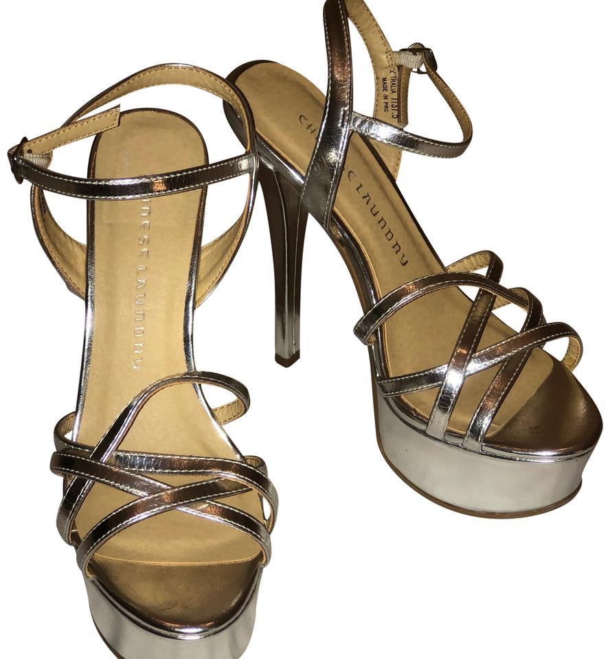 Chinese Laundry Silver Stiletto Sandals Platforms Size US 7 Regular ... d135636a506f