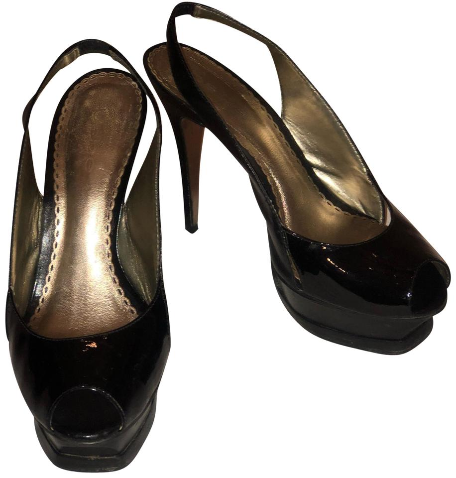 e2111abd624 bebe Black Patent Leather Slingback Pumps Platforms. Size  US 7 ...
