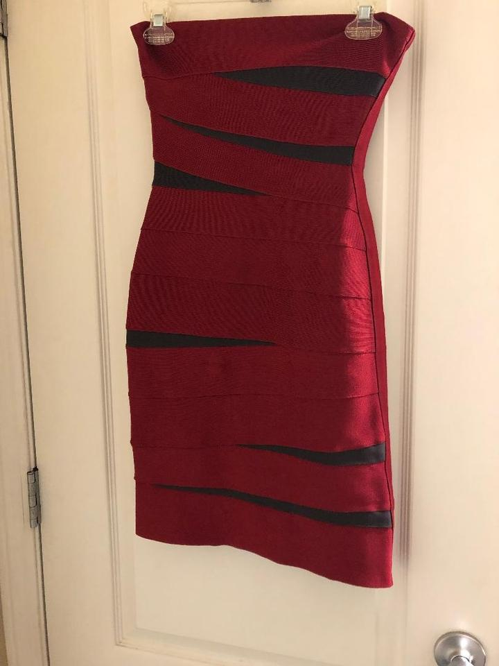fa1aa01849d7 Hervé Leger Red and Black Strapless Bandage Short Cocktail Dress ...