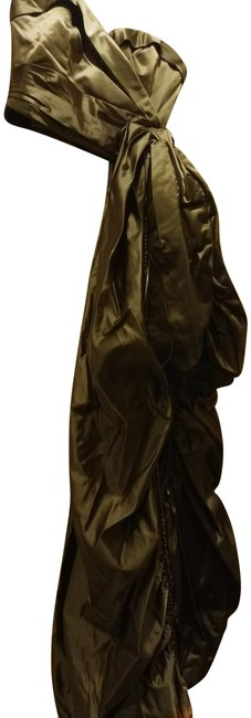 Item - Sz40(6) Couture Draped Satin Bustier Olive Green Top