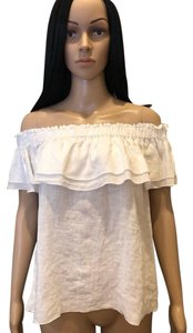 Young Fabulous & Broke Sleeveless Ruffle Ots Off The Shoulder Linen Top White