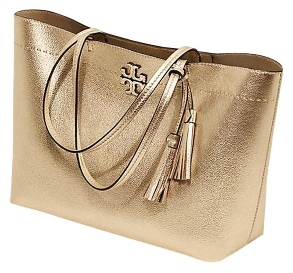 524106c93b Tory Burch Large Mcgraw Metallic Gold Leather Tote - Tradesy