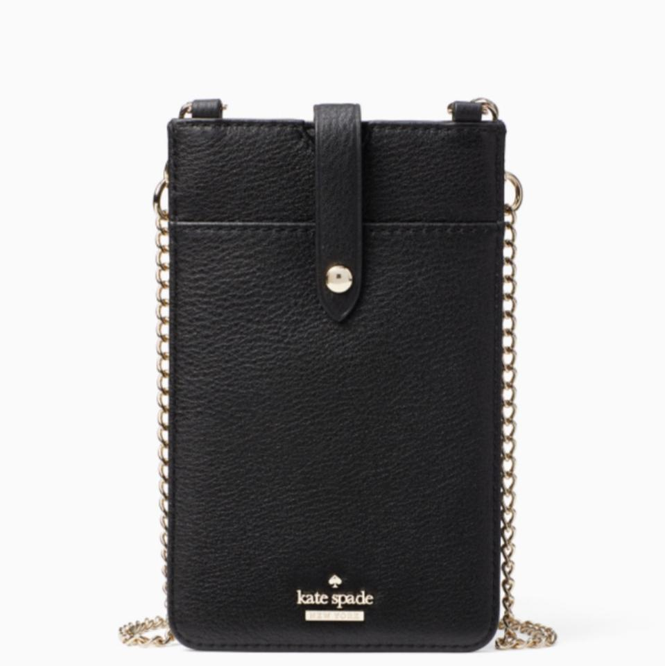new product 66b78 109f5 Kate Spade Pearls Details Iphone/Cards Black/Gold Pebbled Leather Cross  Body Bag 25% off retail