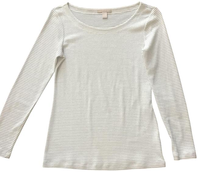 Item - Silver and White Stripe Longsleeve Tee Shirt Size 8 (M)