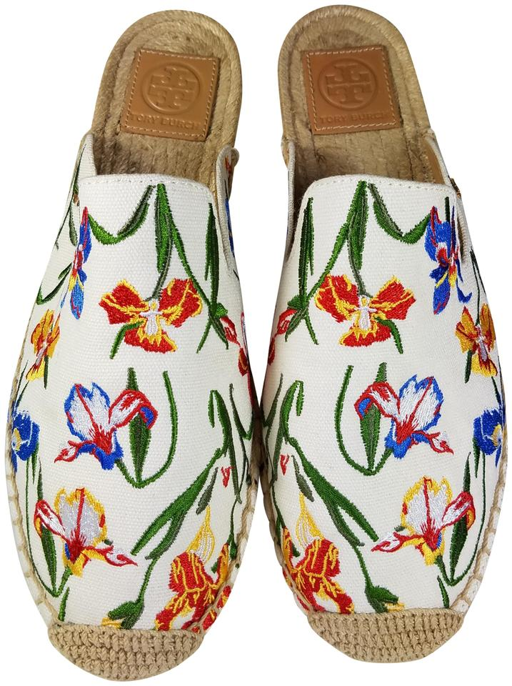 190a0b3d0 Tory Burch White/ Multi Embroidered Max Espadrille Women Mules ...