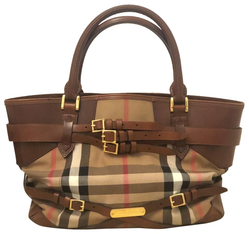 f42e014dcd5b Burberry Bridle House Check Lynher Medium Brown Black Red Leather ...