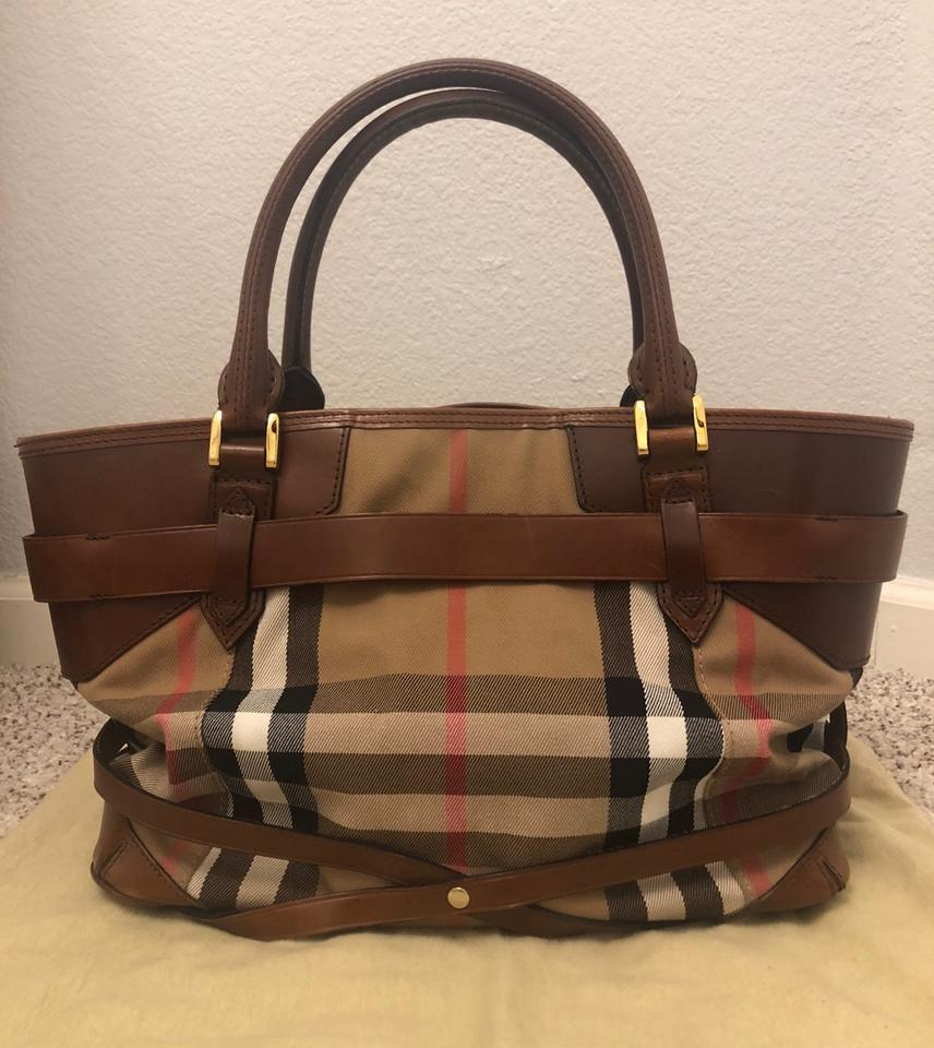 6b2133c5e36 Burberry Bridle House Check Lynher Medium Brown Black Red Leather and Canvas  Tote - Tradesy
