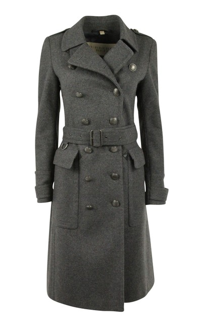 Item - Grey Wool Cashmere Double Breasted Leather Trim Coat Size 4 (S)