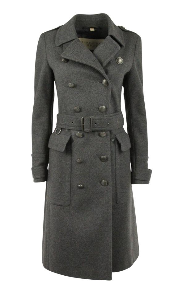 86a900c8d79419 Burberry Brit Grey Wool Cashmere Double Breasted Leather Trim Coat ...