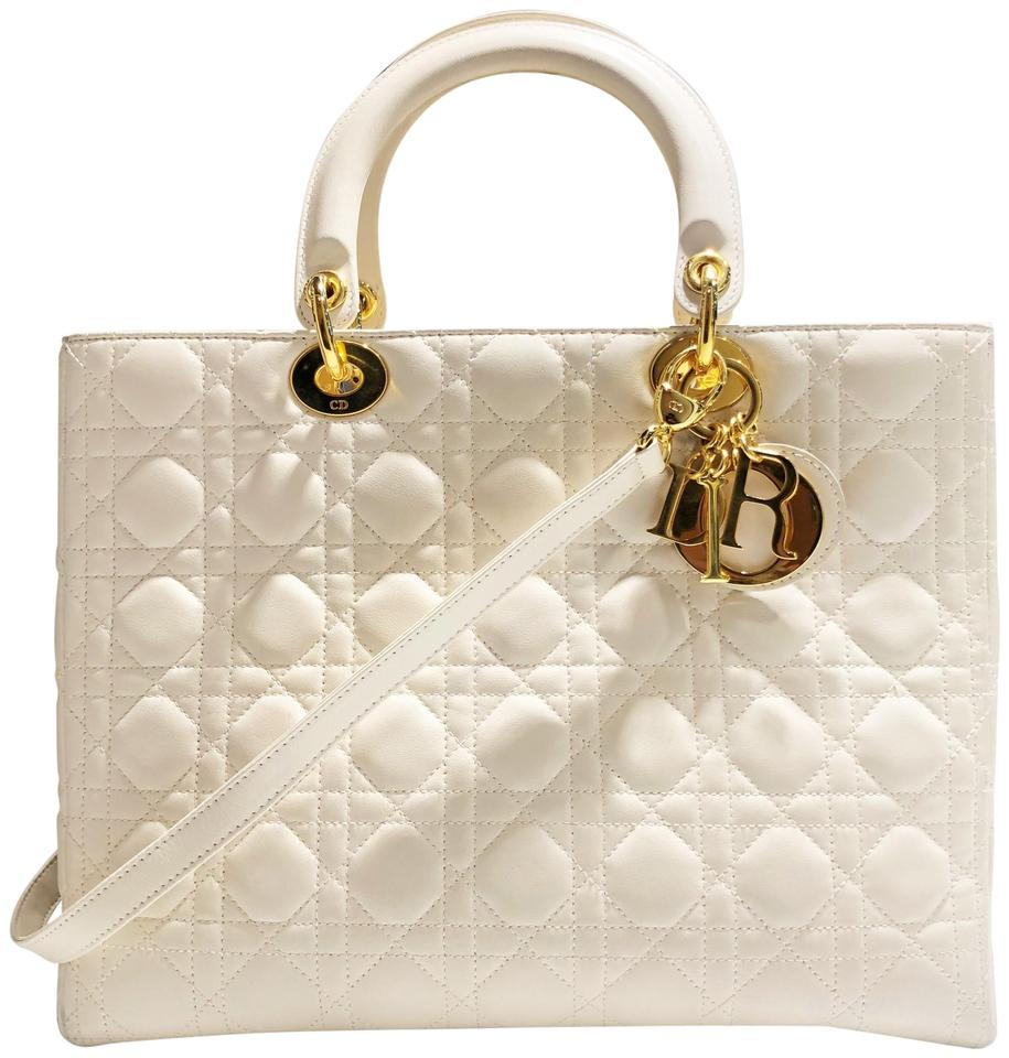 ebf227583eec Dior Lady Dior Christian Large Cannage Quilted Handbag Beige Cream ...