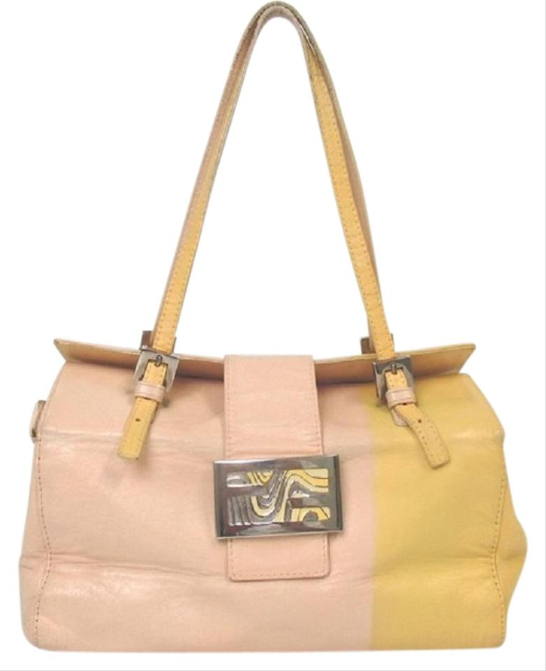 b3c197e3f572 Fendi Pink Yellow Enamel Chrome Top Handle Rare Le Satchel in pink and  yellow ...