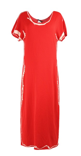 Item - Red Sleeve Knit Short Casual Maxi Dress Size 12 (L)