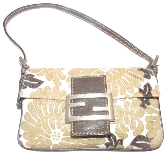 Item - 'zucchino' Beaded Purses/Designer Purses Brown Floral Print W Beads Canvas Leather Beading Baguette