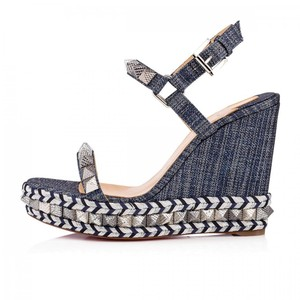 Christian Louboutin Wedge Studded Pyraclou Denim Blue Platforms