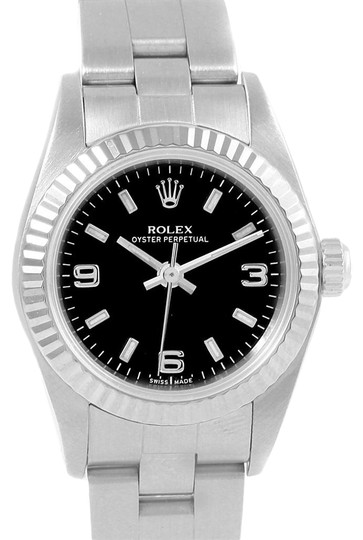 Preload https://img-static.tradesy.com/item/24610790/rolex-black-oyster-perpetual-non-date-steel-white-gold-ladies-76094-watch-0-1-540-540.jpg