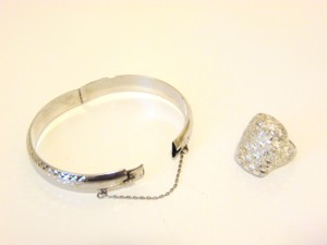 Colleen Lopez .925 Platinum Clad Bracelet and .925 Filigree Ring 8